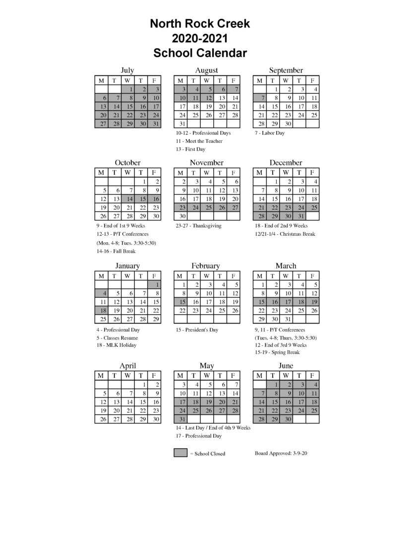 North Rock Creek Public Schools - 2020-2021 School Calendar