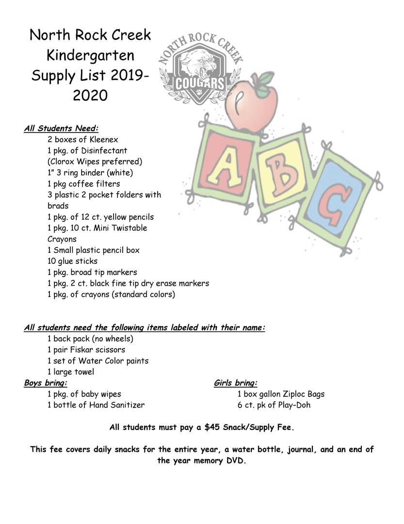 North Rock Creek Public Schools - Kindergarten Supply List