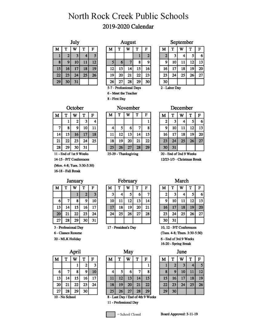 Davis County School Calendar.North Rock Creek Public Schools 2019 2020 School Calendar